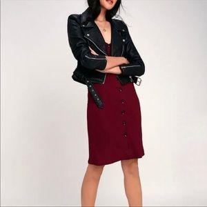 Lulu's midi dress bushbuck babe ribbed burgundy M